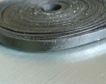 50 cm cord flat leather Black 8 x 2 mm