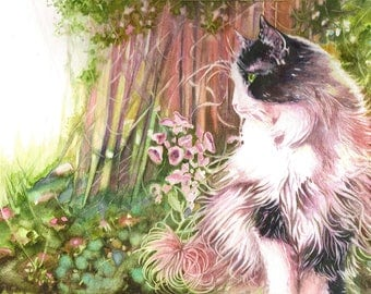 Watercolor cat Norwegian 27 X 17.5 cm