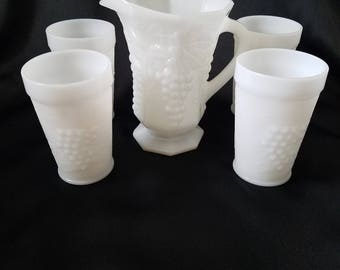 Vintage Milk Glass Pitcher and 4 milk glass cups.  Grape and Leave Pattern.
