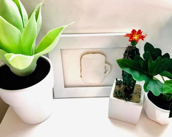 White coffee mug 3D handmade wall art with gold leaf edges