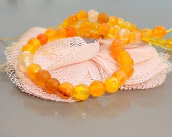 Tangerine orange 4 mm faceted agate beads, dragon vein agate