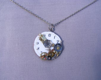 Mounted into a necklace Pocket Watch necklace steampunk pendant genuine clock gears and watch dial.