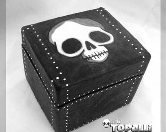 Black box with skull, paper mache, rocker design, hand made, creepy dark handicraft box. Paper mache box, black box with skull