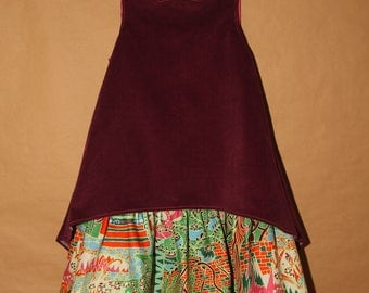 What if... Dress winter velvet fuchsia, Ankara skirt