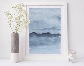 Printable abstract art, watercolour wall art, mountains print, blue watercolor print, watercolor art, abstract art, abstract watercolor art