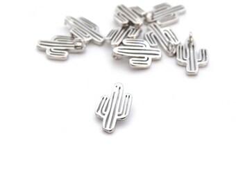 1 small silver cactus pendant copper 14x9mm