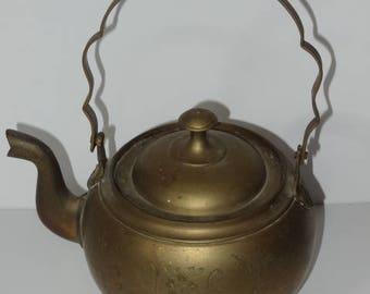 Vintage Brass Teapot Kettle Fireside Ornate Old