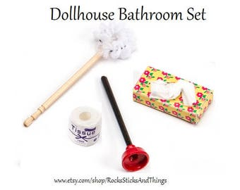 Dollhouse Bath Accessories Set, Miniatures, Small Scale