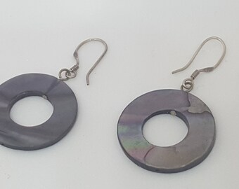 Circle Abalone Shell Disc Earrings With Silver 925 Fishhooks