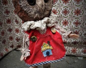 Anthropomorphic Art Doll Brenda the Owl OOAK Sculpted Handmade