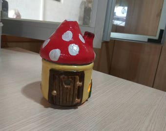 House candle holder GNOME fairy red mushroom-shaped