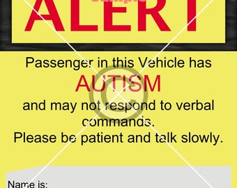 Autism Emergency Alert Sign for your Vehicle