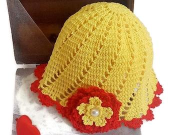"GIRLS HAT ,,MEADOW""/ Hat whit flower/ Summer Girl Hat/ Sun hat/ Yellow red hat/ Handmade baby hat/  Girls crochet hat/ Cotton girl hat"