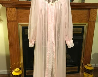 50's night robe pink chiffon material