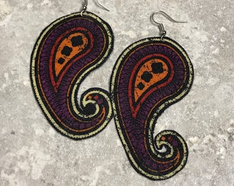 Handmade textile drop earrings in paisley pattern