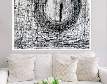 """Abstract Painting on Canvas 100X100 """"Cyclone Dream"""" White Black"""