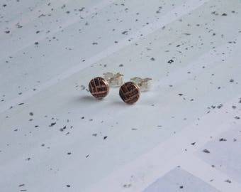 Oxidised Sterling Silver studs with Woven Copper Textures
