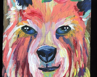 Painted Bear on reclaimed wood