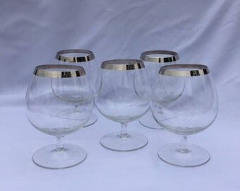 Vintage Dorothy Thorpe Silver Band Small Brandy Snifters - set of 5 Mid Century