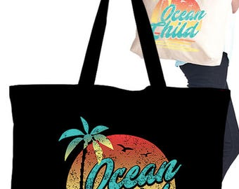 Eco Tote Bag with Screen Graphic Print/Ocean Child
