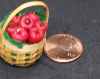 Handmade miniature basket of apples