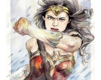 Watercolor Wonder Woman