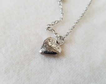 Silver Heart Locket with Flower Detail