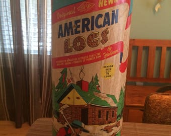 Vintage 1950s Halsam American Logs # 835 Senior Size 220 Pieces Wood Hewn Building Blocks w/ Tube Similar to Lincoln Logs