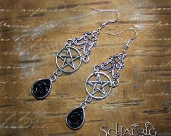 Gothic earrings with Pentagram and black rose