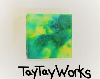 Green/Blue/Yellow Marble Soap Bar