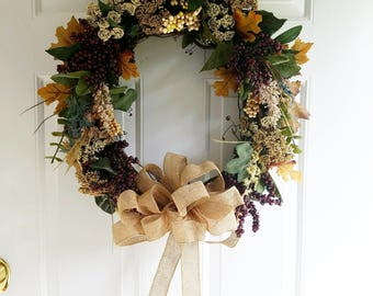 New Fall/Thanksgiving Wreath, Pip Berry, Queen Ann's Lace, Fall Leaves, Burlap Bow