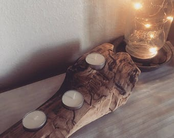Rustic Wood Tea Light Holder