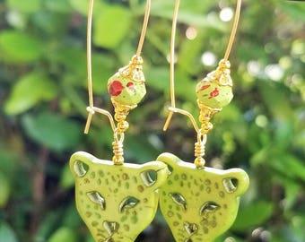 Green Lion Earrings