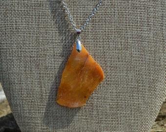 Orange Citrine Slab Gemstone Pendant