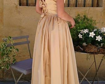Honey taffeta back Decollete long dress