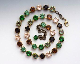 Green Crystal Necklace, Green Rhinestone Necklace Nickel Free, Swarovski Crystal Jewelry, Austrian Crystal, Swarovski Necklace, Giorgia