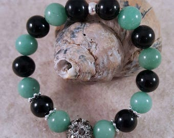 Gemstone bracelet with onyx and aventurine, Strassperle and intermediate particles of 925 silver