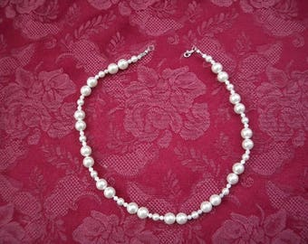 """Sea Shell White Pearl Necklace 18""""-White Shell Pearls and Mother of PearlsNecklace-Necklace-Pearl Necklace-Bridal Pearl Necklace-Gift"""