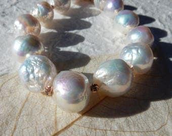 SALE Edison Pearl Bracelet, White, Genuine freshwater Pearl Bracelet, Baroque Pearl