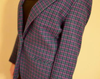1980s Pendleton Purple Plaid Wool Blazer // Size 8 Petite