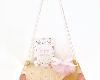 Small swing shelf pink and gold