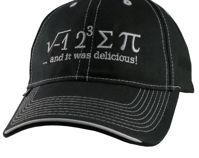 I Ate Some Pi And It Was Delicious Humorous Math Pun White Embroidery on an Adjustable Black Mid Profile Structured Baseball Cap