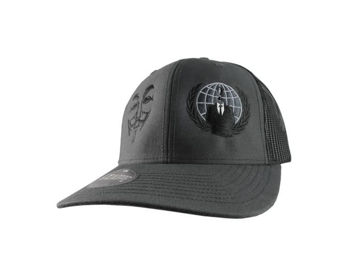 Anonymous Logo and Guy Fawkes Mask Tone on Tone Embroidery on an Adjustable Charcoal and Black Structured Truckers Style Snapback Ball Cap