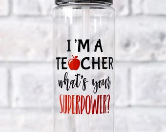 teacher water bottle  teacher superpower  teacher superhero  personalized teacher gift  gift new teacher gift  gym teacher  daycare teacher