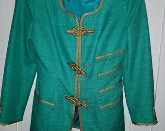 Seafoam Green skirt suit with metal closures