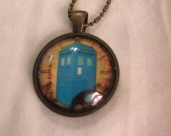 Steampunk Tardis pendant necklace