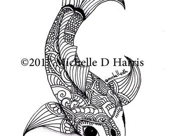 Zentangle Koi Print, Mandala Koi Print, Zentangle Koi Drawing, Black & White Koi Drawing, Zen Art,