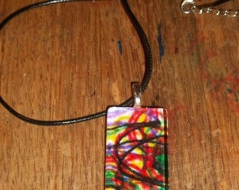abstract water color wearable art jewelry glass pendant necklace #12