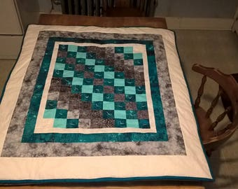 Teal and Silver Baby Blanket