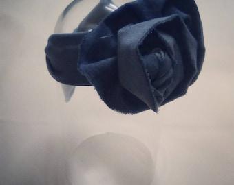 Denim flower self tie headband